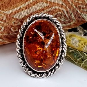 Sterling Silver 925 Ring Amber Stone